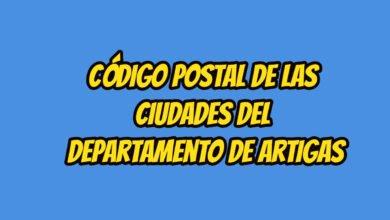 Código Postal de las ciudades del Departamento de Artigas