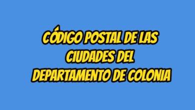 Código Postal de las ciudades del Departamento de Colonia