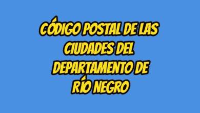 Código Postal de las ciudades del Departamento de Río Negro