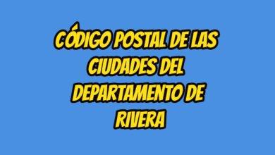 Código Postal de las ciudades del Departamento de Rivera