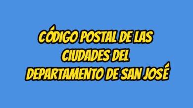 Código Postal de las ciudades del Departamento de San José